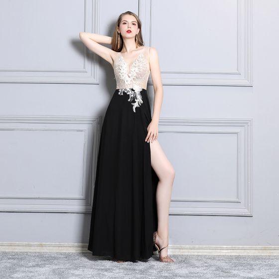 9d257882 Affordable Black See-through Evening Dresses 2019 A-Line / Princess Deep V- Neck Sleeveless Appliques Lace Beading Rhinestone Split Front Floor-Length  ...