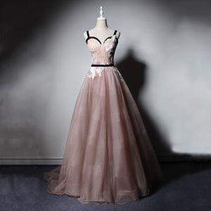 Elegant Pearl Pink Prom Dresses 2019 A-Line / Princess Shoulders Sleeveless Appliques Lace Sash Floor-Length / Long Ruffle Backless Formal Dresses