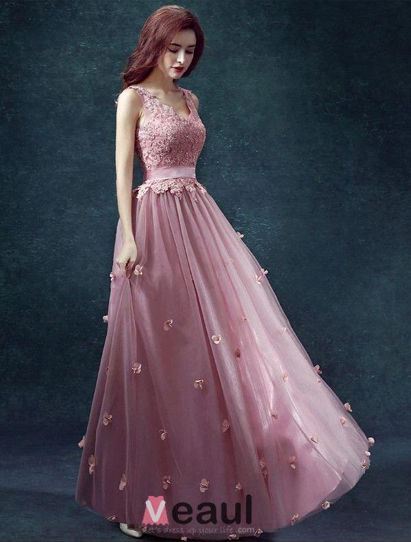 2015 A-line Shoulders V-neck Handmade Flower Appliques Lace Sash Prom Dress