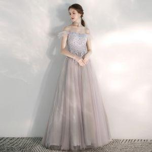 Elegant Lilac Evening Dresses  2020 A-Line / Princess Off-The-Shoulder Short Sleeve Appliques Lace Beading Floor-Length / Long Ruffle Backless Formal Dresses