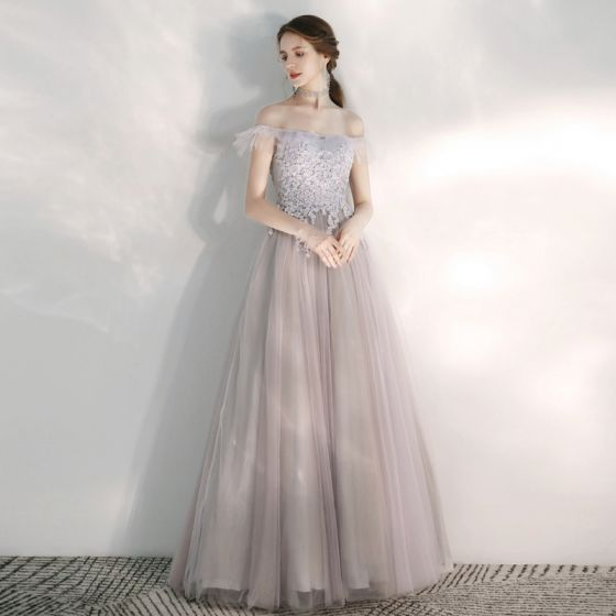 Elegant Lilac Evening Dresses  2020 A-Line / Princess Off-The-Shoulder Short Sleeve Appliques Lace Beading Floor-Length / Long Ruffle Backless Formal Dresses