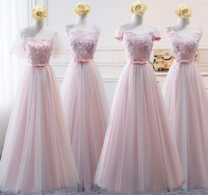 Chic / Beautiful Blushing Pink Bridesmaid Dresses 2018 A-Line / Princess Appliques Bow Lace Backless Floor-Length / Long Wedding Party Dresses