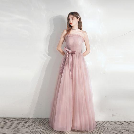 Snygga / Fina Rodnande Rosa Balklänningar 2021 Prinsessa Axelbandslös Rosett Ärmlös Halterneck Långa Bal Formella Klänningar