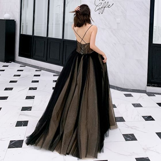 Sexy Black Prom Dresses 2019 A-Line / Princess Spaghetti Straps Sleeveless Floor-Length / Long Ruffle Backless Formal Dresses
