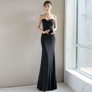 Sexy Black Evening Dresses  2018 Trumpet / Mermaid Backless Sweetheart Sleeveless Floor-Length / Long Formal Dresses