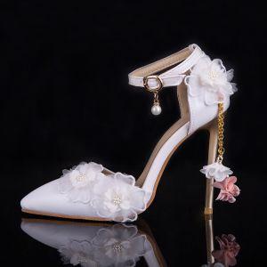 Chic / Belle Blanche Chaussure De Mariée 2019 Perle Bride Cheville Appliques 9 cm À Bout Pointu Talons Aiguilles Mariage Talons Hauts