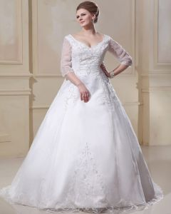 Organza Applique V Neck Chapel Plus Size Bridal Gown Wedding Dresses