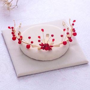 Schlicht Rot Perle Kristall Gold Kopfschmuck 2018 Metall Hochzeit Brautaccessoires