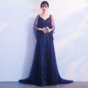 Elegant Navy Blue Evening Dresses  2019 A-Line / Princess V-Neck 3/4 Sleeve Appliques Lace Glitter Tulle Sweep Train Ruffle Backless Formal Dresses