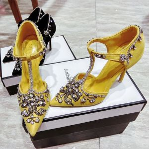 Chic / Beautiful Yellow Evening Party Womens Shoes 2019 Crystal Rhinestone Suede T-Strap 10 cm Stiletto Heels Pointed Toe High Heels