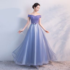 Glitzernden Lavendel Abendkleider 2018 A Linie Perlenstickerei Schleife Strass Off Shoulder Kurze Ärmel Lange Festliche Kleider