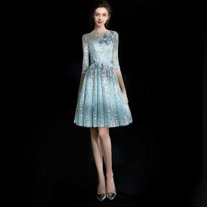 Modern / Fashion Multi-Colors Short Graduation Dresses 2018 A-Line / Princess U-Neck Tulle Backless Beading Pierced Sequins Sparkly Homecoming Formal Dresses