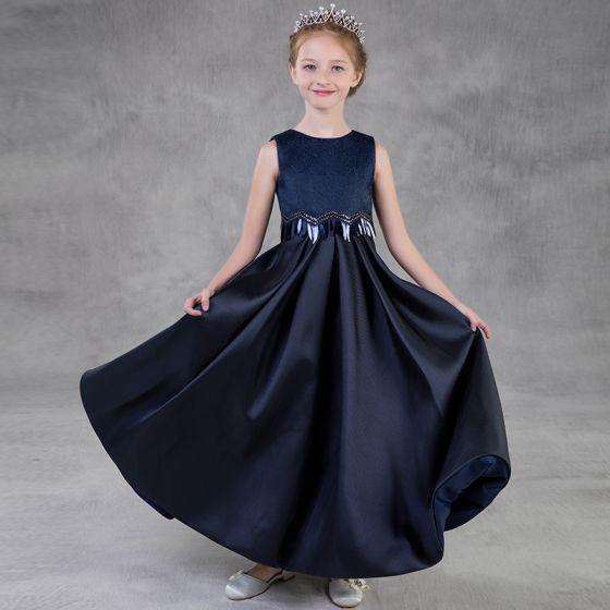Proste / Simple Granatowe Sukienki Dla Dziewczynek 2018 Princessa Wycięciem Bez Rękawów Cekiny Długie Wzburzyć Sukienki Na Wesele