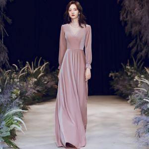 Style Victorien Rougissant Rose Hiver Robe De Soirée 2020 Princesse Transparentes Col Haut Gonflée Manches Longues Perlage Longue Volants Dos Nu Robe De Ceremonie