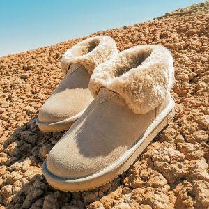 Dejlig Beige Vinterstøvler 2020 Uldne Læder Støvletter / Ankelstøvler Vinter Flade Casual Runde Tå Støvler Dame