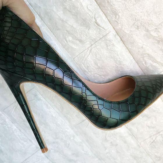 Enkel Mørkegrøn Streetwear Pumps 2020 Slangeskind Print 12 cm Stiletter Spidse Tå Pumps