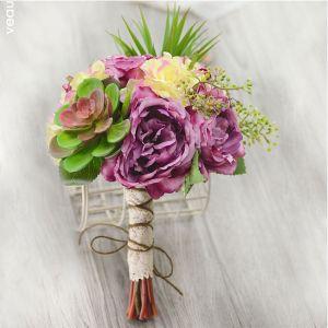 Kunstseide-simulations Blumen Sukkulenten Nostalgischen Teerose Brautsträuße Halten Blumen Brautstrauß