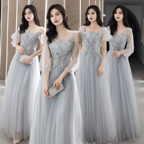 Modest / Simple Grey Bridesmaid Dresses 2021 A-Line / Princess Scoop Neck Beading Pearl Lace Flower Short Sleeve Backless Floor-Length / Long Wedding Party Dresses