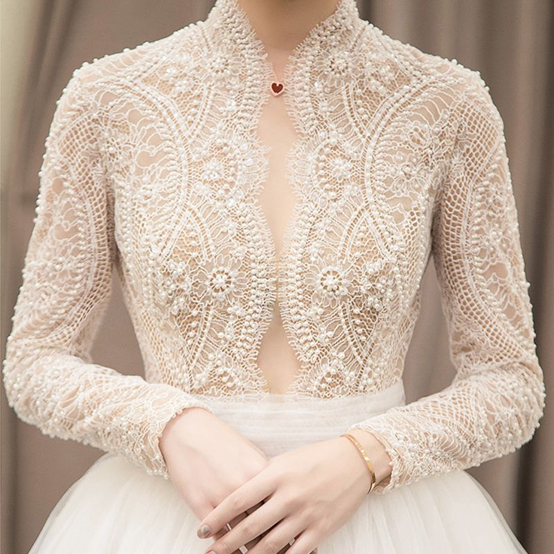 Elegant Ivory Pierced Wedding Dresses 2018 Empire High Neck Long Sleeve Beading Lace Chapel Train Ruffle