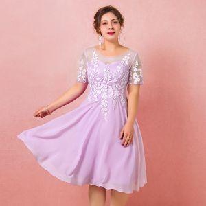 Moderne / Mode Violet Grande Taille Robe De Graduation 2018 Tulle U-Cou Dos Nu Perlage Brodé Soirée Robe De Ceremonie