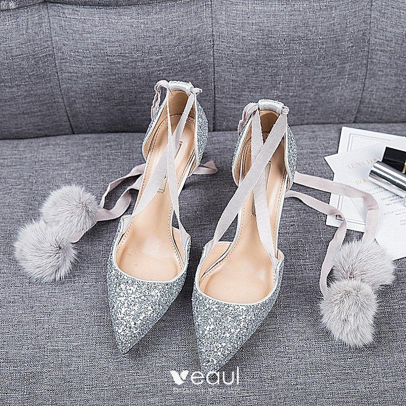 a104189a0 Chic / Belle Argenté Rendez-vous Chaussures Femmes 2019 Cuir ...