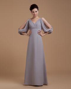 Ballkleid Mantel V-ausschnitt Bodenlangen Chiffon Frauen