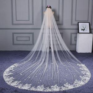 Klassieke Elegante Witte Cathedral Train Huwelijk Tule Kant Appliques Bruidssluier 2018