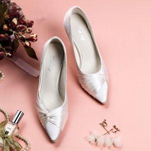 Luxe Witte Bruidsschoenen 2019 Leer Satijn 8 cm Naaldhakken / Stiletto Spitse Neus Huwelijk Pumps