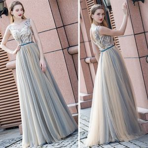 Elegant Champagne Evening Dresses  2020 A-Line / Princess V-Neck Sleeveless Beading Sash Floor-Length / Long Ruffle Backless Formal Dresses
