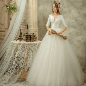 Audrey Hepburn Style Ivory Wedding Dresses 2019 A-Line / Princess V-Neck 1/2 Sleeves Backless Floor-Length / Long Ruffle