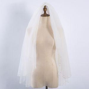 Proste / Simple Białe Ślub Tiulowe Frezowanie Perła Krótkie Welony Ślubne 2019