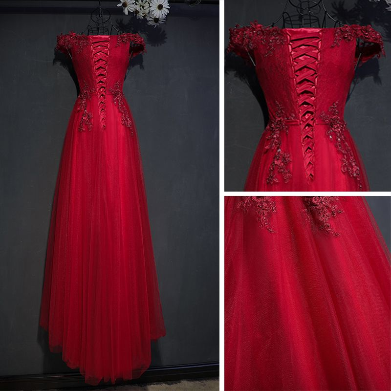 Chic / Beautiful Red Formal Dresses Evening Dresses  2017 Lace Flower Strappy Sequins Square Neckline Short Sleeve Empire