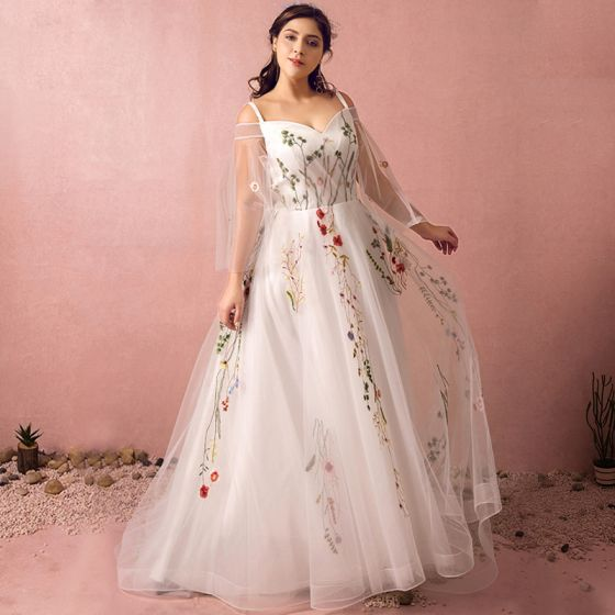 276568e45 Hada de las flores Blanco Talla Extra Vestidos de gala 2018 A-Line    Princess V-Cuello Tul Sin Espalda Bordado Gala Noche ...