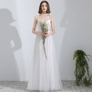 Modest / Simple White Floor-Length / Long Wedding 2018 A-Line / Princess Tulle Corset Beach Wedding Dresses
