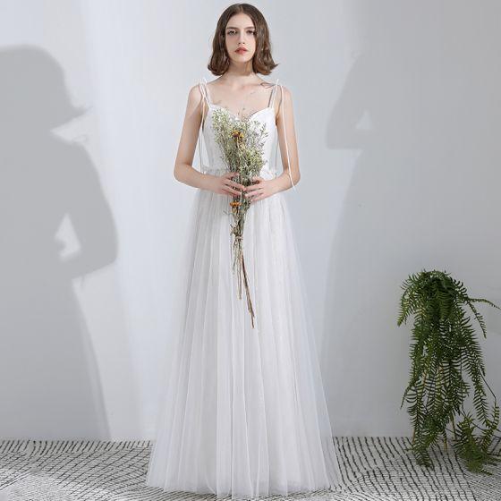 Modest / Simple White Floor-Length / Long Wedding 2018 A-Line / Princess Tulle Corset Beach Wedding Dresses