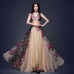 Flower Fairy Champagne Floor-Length / Long Maxi Dresses 2018 A-Line / Princess V-Neck Sleeveless Chiffon Backless Printing Beach Summer Womens Clothing