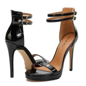 Fine Svart Gateklær Sandaler Dame 2020 Ankelstropp 11 cm Stiletthæler Peep Toe Sandaler