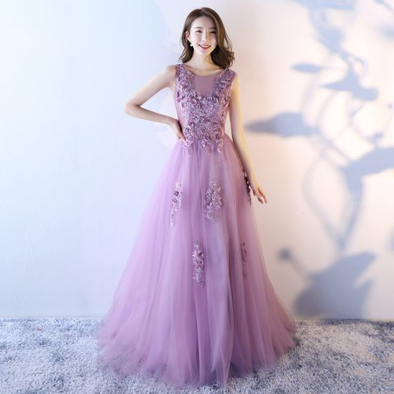 Chic / Beautiful Lilac Prom Dresses 2017 A-Line / Princess Scoop Neck Sleeveless Appliques Flower Sequins Beading Pearl Sweep Train Ruffle Backless Formal Dresses