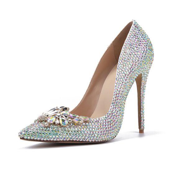 Charming Multi-Colors Crystal Wedding Shoes 2020 Leather Rhinestone 11 cm Stiletto Heels Pointed Toe Wedding Pumps