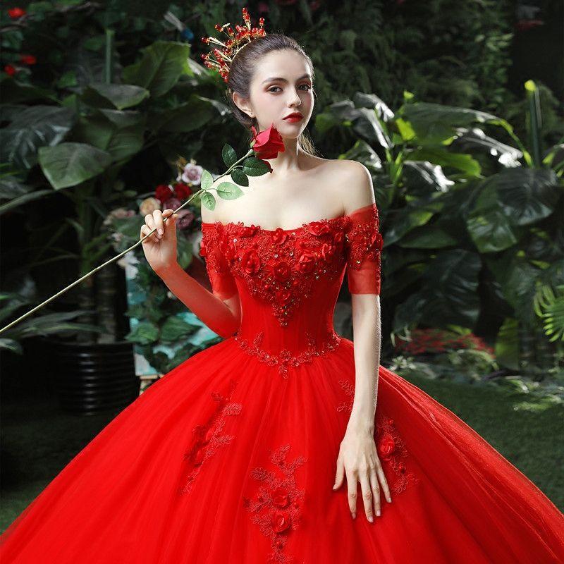 Schöne Rot Brautkleider / Hochzeitskleider 2018 Ballkleid Applikationen Perlenstickerei Pailletten Off Shoulder Rückenfreies Ärmellos Kathedrale Schleppe Hochzeit
