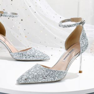 Sparkly Silver Wedding Shoes 2020 Ankle Strap Sequins 8 cm Stiletto Heels Pointed Toe Wedding Heels