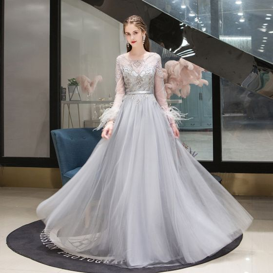 High-end Grey See-through Evening Dresses  2020 A-Line / Princess Scoop Neck Long Sleeve Feather Beading Floor-Length / Long Ruffle Formal Dresses