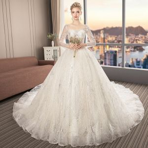 Bling Bling Champagne See-through Wedding Dresses 2019 A-Line / Princess Square Neckline Long Sleeve Backless Glitter Tulle Cathedral Train Ruffle