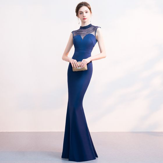 Chic / Beautiful Navy Blue Evening Dresses  2019 Trumpet / Mermaid Beading Scoop Neck Sleeveless Floor-Length / Long Formal Dresses