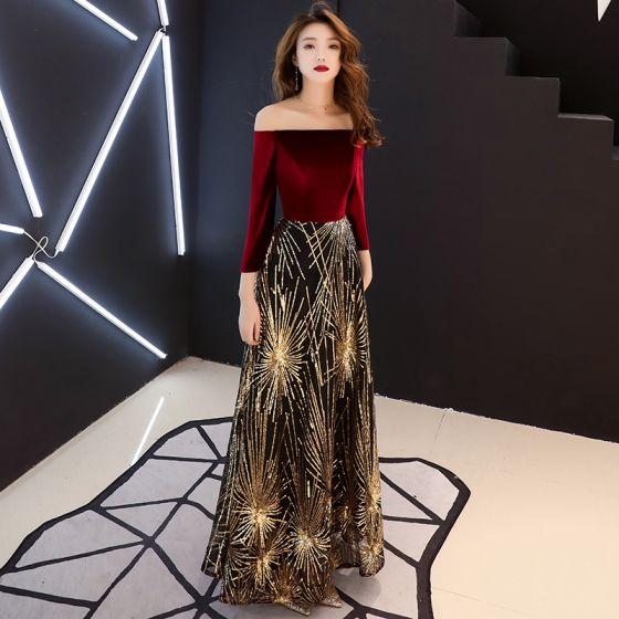 a7bb02a0a8 Piękne Burgund Sukienki Wieczorowe 2019 Princessa Przy Ramieniu Długie  Rękawy Cekinami Cekiny Długie Wzburzyć Bez Pleców Sukienki Wizytowe