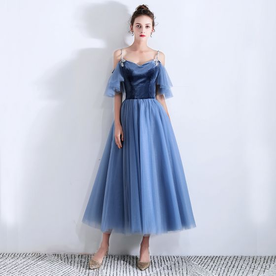 Classy Ocean Blue Suede Homecoming Graduation Dresses 2019 A-Line / Princess Spaghetti Straps Short Sleeve Ankle Length Ruffle Backless Formal Dresses
