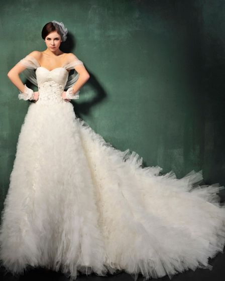 Sweet princess winter straps trailing wedding dress
