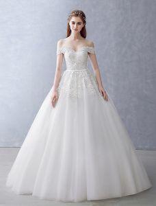 Robes De Mariée Élégantes 2016 Robe De Bal De L'épaule Perles Perles Appliques De Dentelle Dos Nu Robe De Mariée