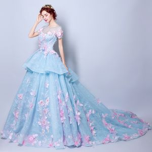 Amazing / Unique Pool Blue Wedding Dresses 2018 Ball Gown Appliques Pearl Scoop Neck See-through Short Sleeve Chapel Train Wedding