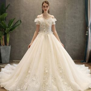 Classy Champagne Wedding Dresses 2019 A-Line / Princess V-Neck Short Sleeve Backless Appliques Lace Sequins Beading Glitter Tulle Chapel Train Ruffle